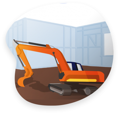 An orange excavator in front of a residential construction site representing what may be covered by Foresight Commercial Property